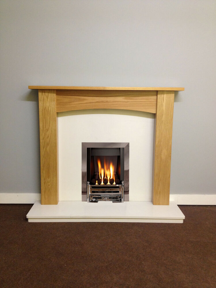 Oak fire surround white marble electric or gas complete for White marble fire surround