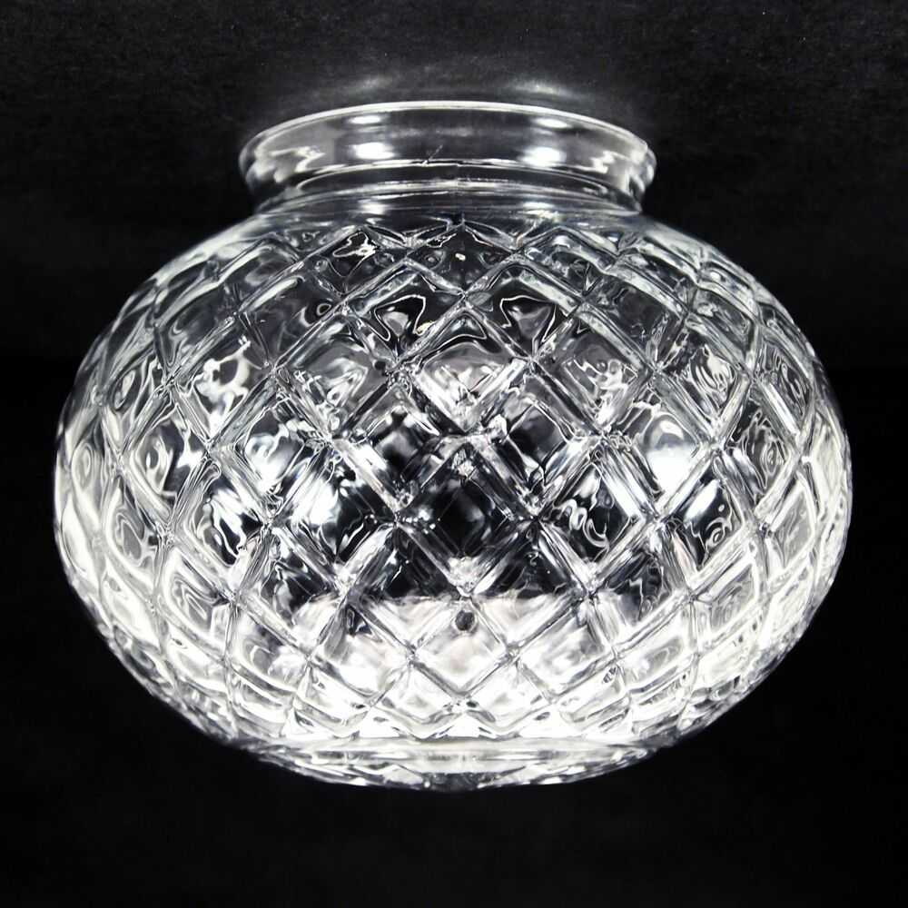 Glass Globe Replacement 6 Clear Beveled Harlequin Design