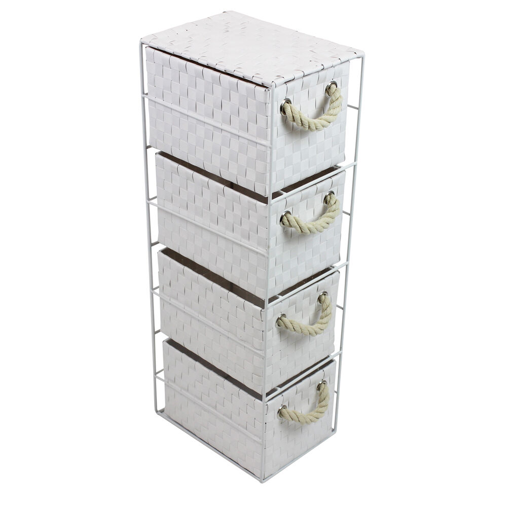 Jvl White 4 Drawer Storage Unit Rope Handles Metal Frame Bathroom 18x25x65cm Ebay