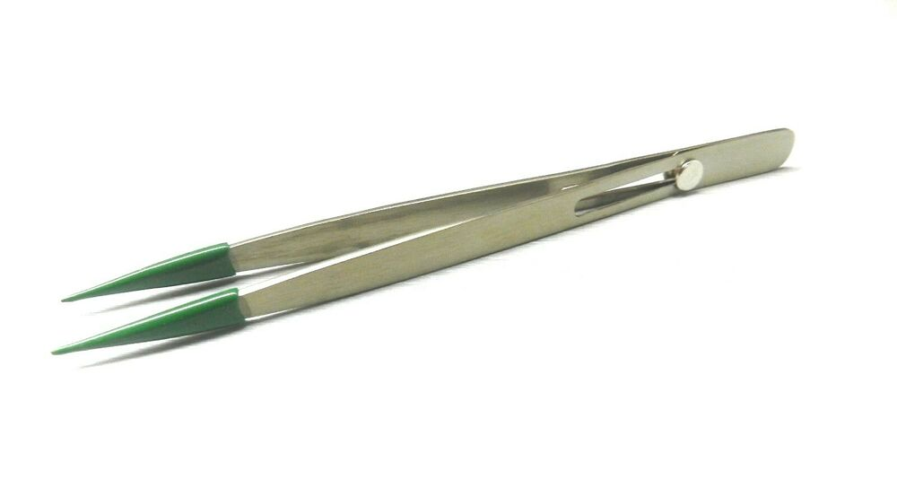 Pvc Tip Tweezers Locking Fine Point Soft Rubber Tipped No