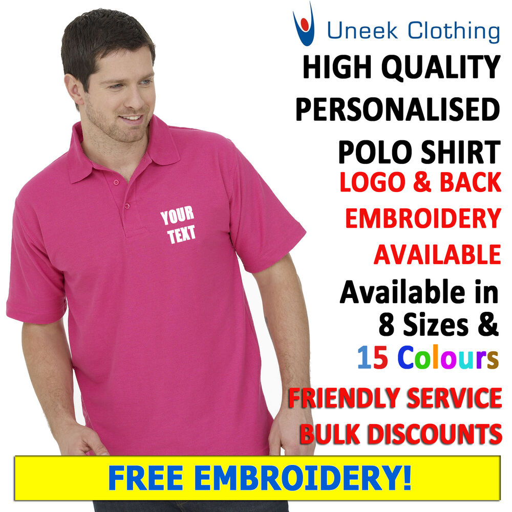 e29b08a5d Personalised Embroidered Polo Shirts, Customised Workwear, Free Text Uneek  UC101 | eBay