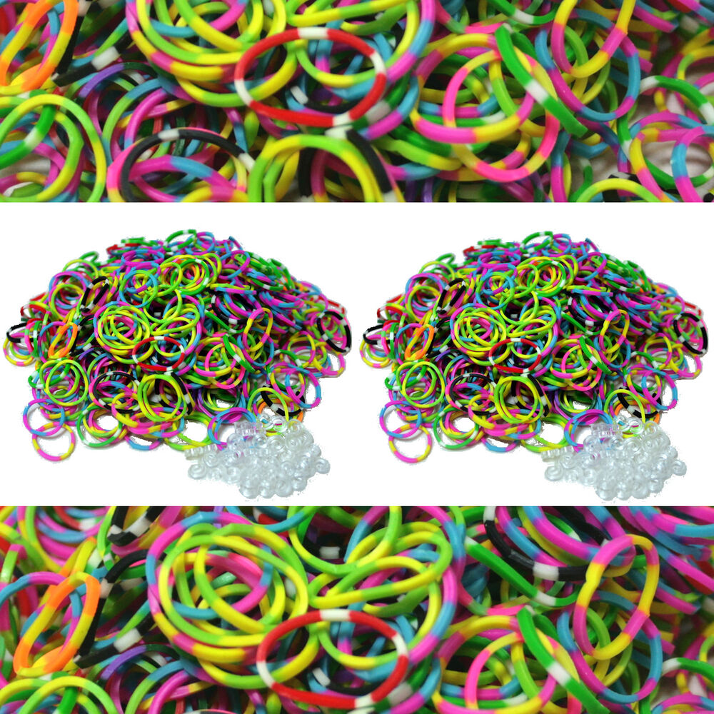 Tropical Colored Tie Dye Rubber Bands 1200 Pcs For Rainbow