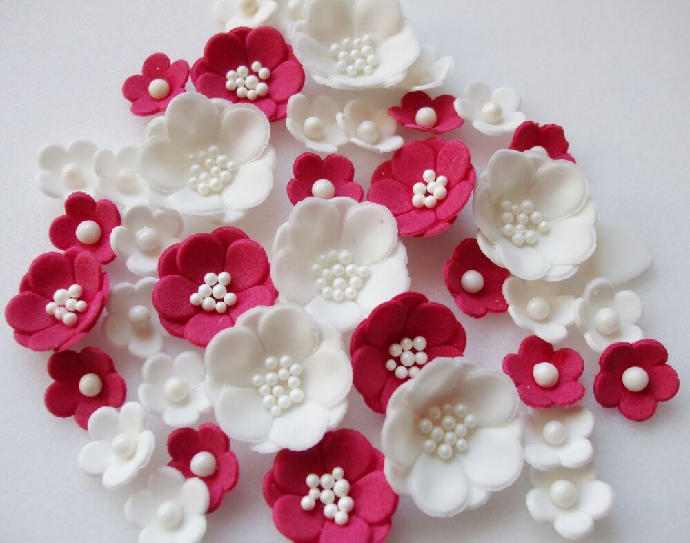 ruby wedding petals cupcake sugarpaste edible blossom flowers decorations cake ebay. Black Bedroom Furniture Sets. Home Design Ideas
