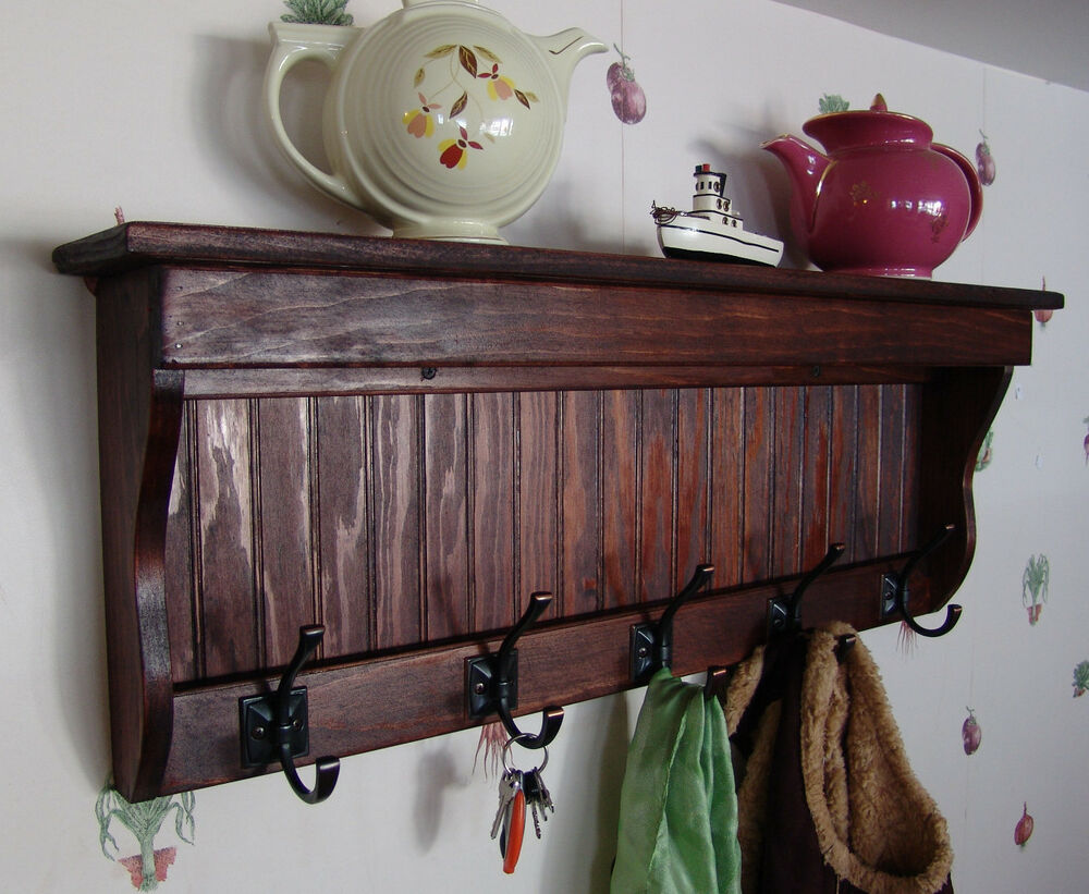 35 handcrafted wooden wall mount coat rack display shelf key hook r mahogany ebay - How to make a wall mounted coat rack ...
