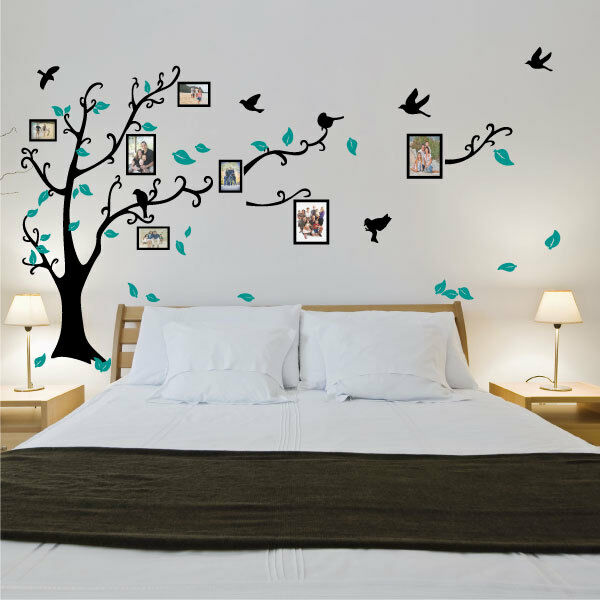 Family tree bird photo frame vinyl nursery wall quotes for The best of family decals for walls