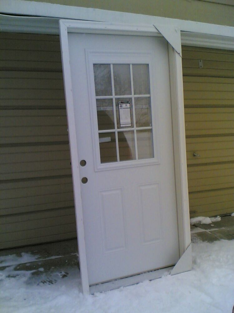 New 36 x80 steel exterior door w 9 lite glass built in for Entry door with built in screen