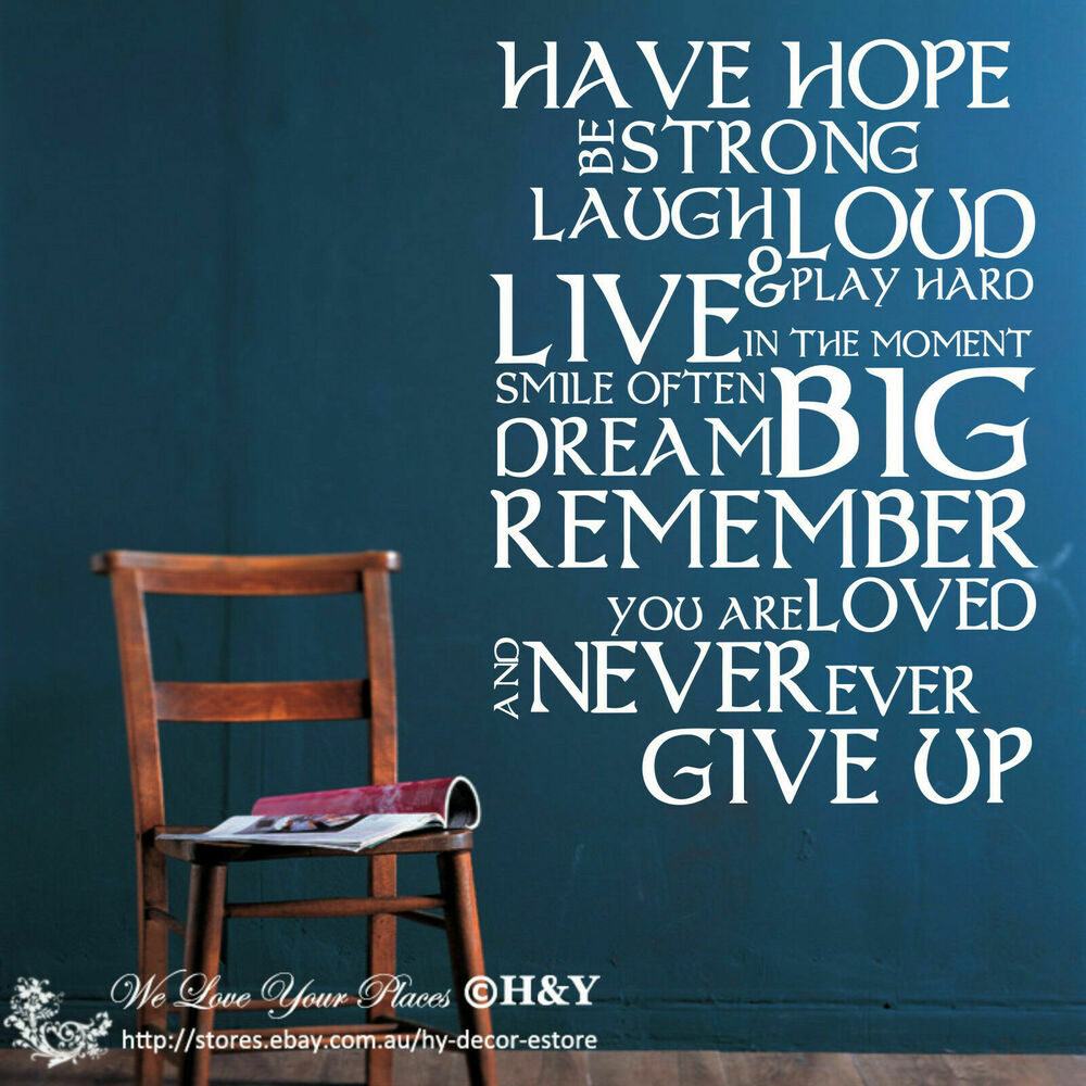 "Wall Decals Quotes: Inspirational ""Have Hope Be Strong"" DIY Wall Stickers"