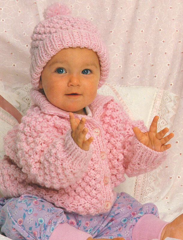 Knitting Pattern Baby Sweater Chunky Yarn : Popcorn Stitch Baby Jacket & Hat 18