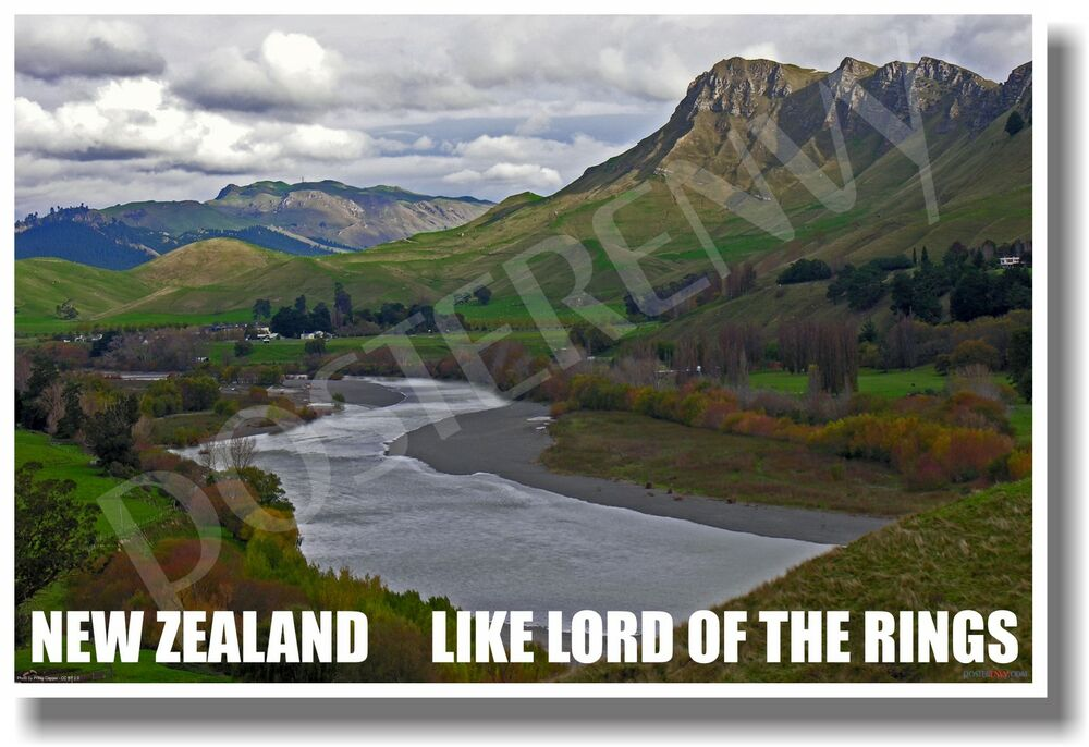 new zealand like lord of the rings new world travel poster ebay. Black Bedroom Furniture Sets. Home Design Ideas