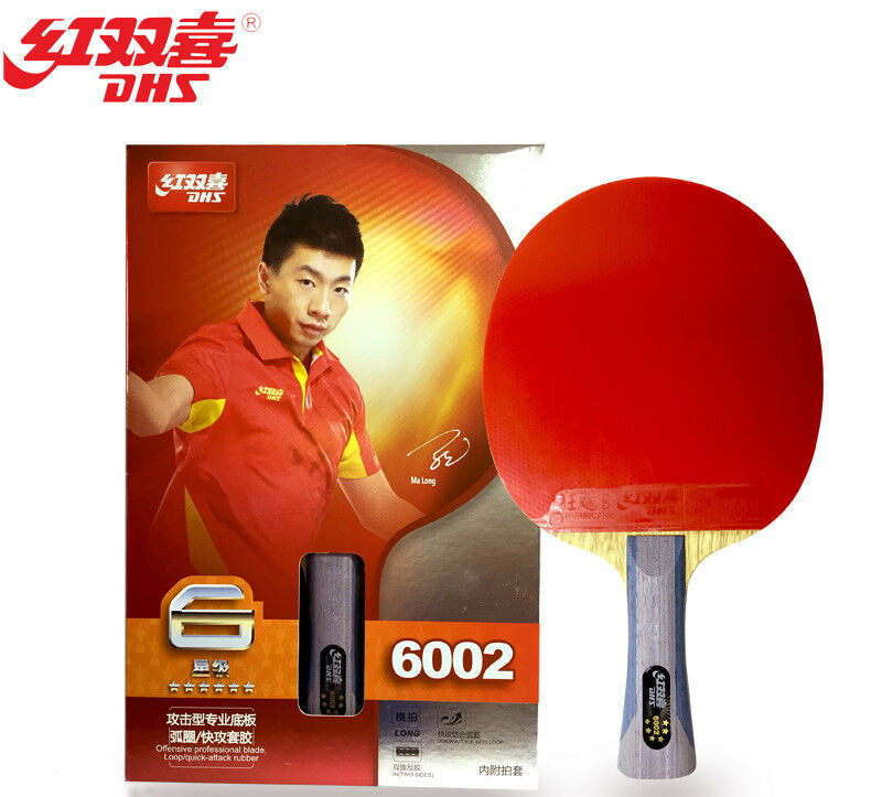 Racket dhs a6002 w 4 gifts paddle table tennis 6star long handle bat ping pong ebay for Table tennis 6 0