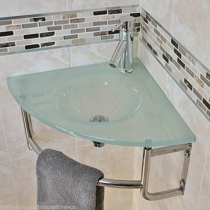 Glass Corner Wall Mounted Bathroom Basin Frosted Sink Bowl