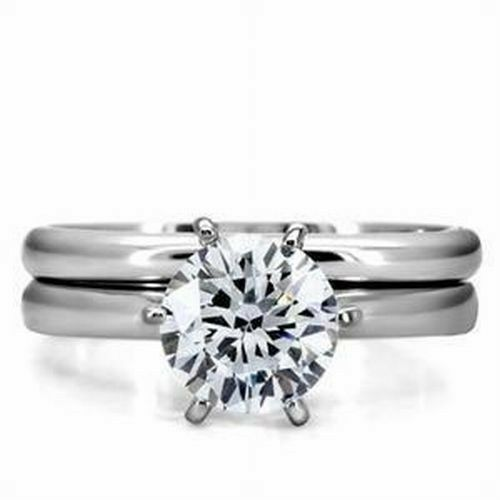 His hers stainless steel round cz solitaire wedding for 3pc wedding ring set