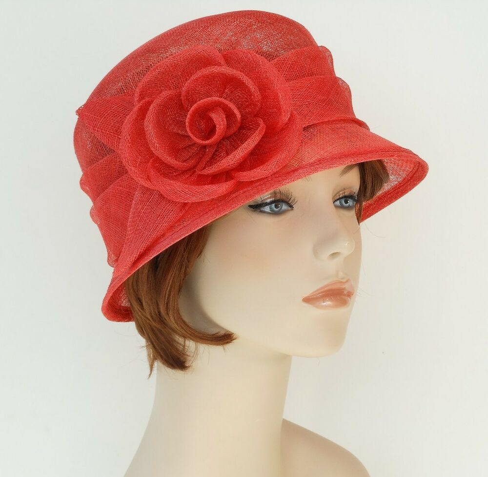 New woman church derby wedding sinamay ascot cloche dress for Dress hats for weddings