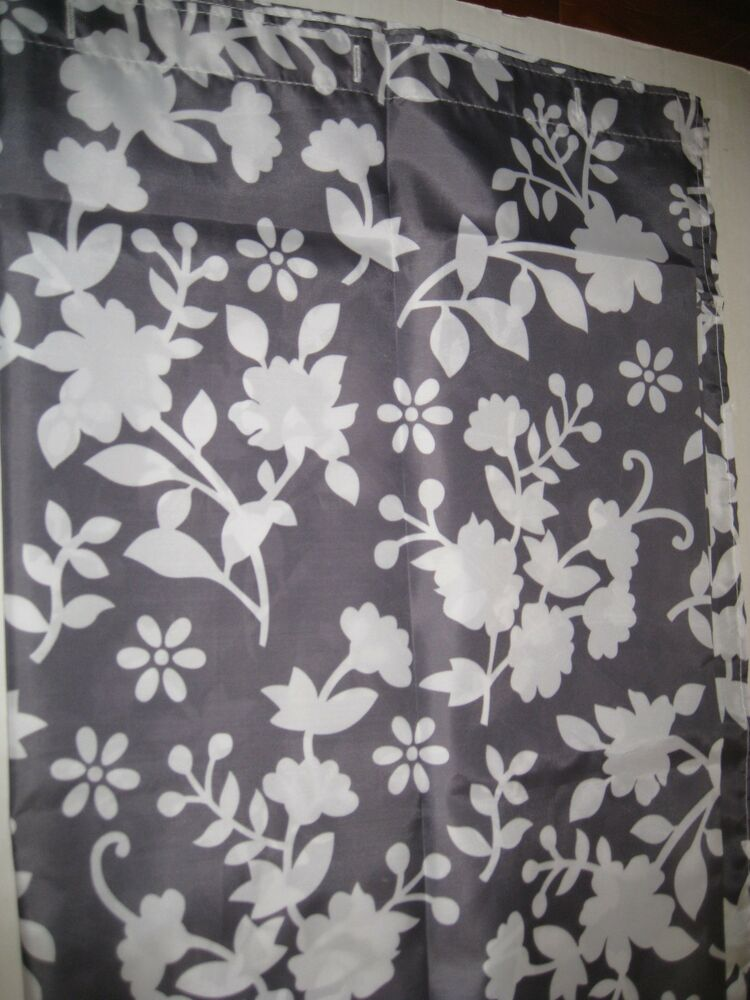 Gray grey white floral silouette fabric shower curtain new for Flowery curtains design