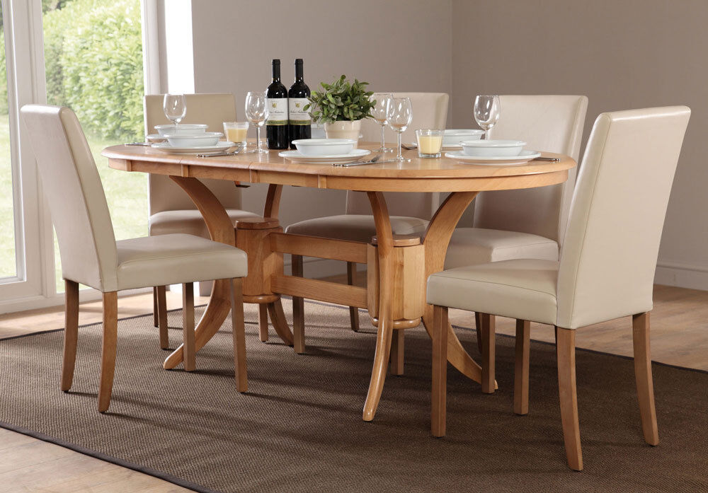 city extending oak dining table and 4 6 chairs set ivory ebay