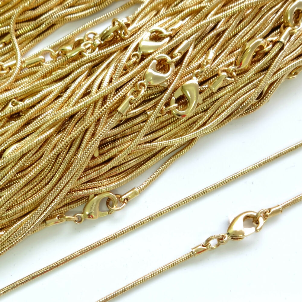 Top Quality 22ct Gold Plated Necklace Snake Chain 16 18 24