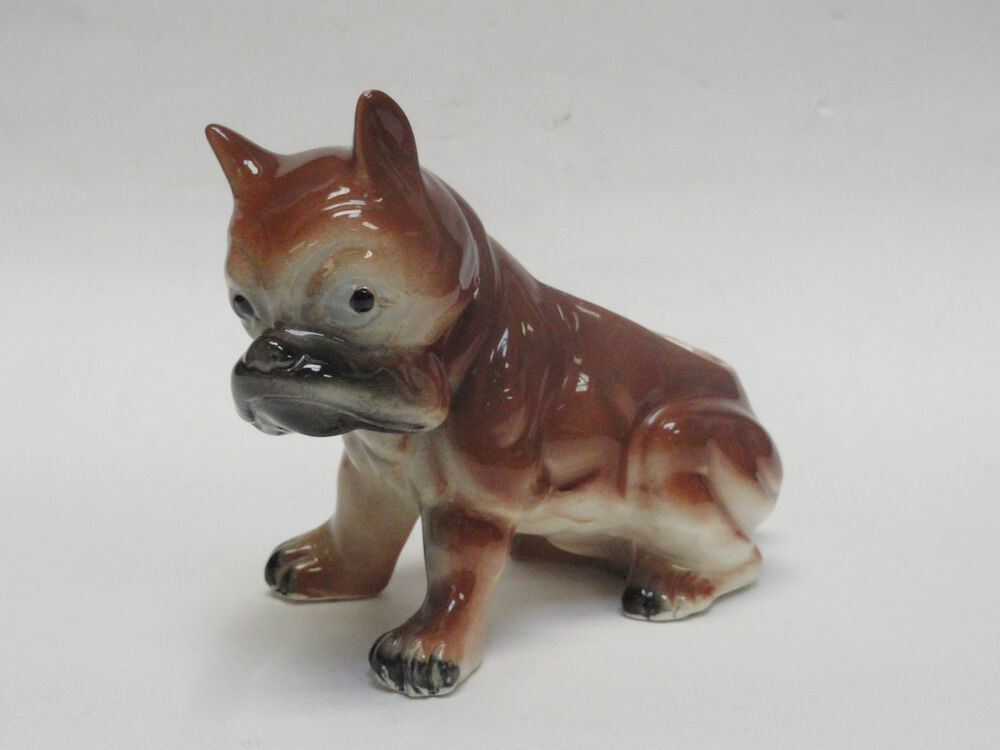 Vintage 40s Ceramic Boxer Bulldog Puppy Dog Planter