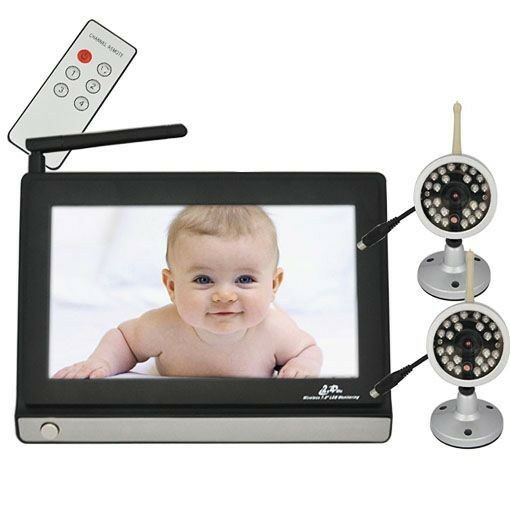 7 inch 2 4ghz wireless 4 channel lcd baby monitor with night vision cam. Black Bedroom Furniture Sets. Home Design Ideas