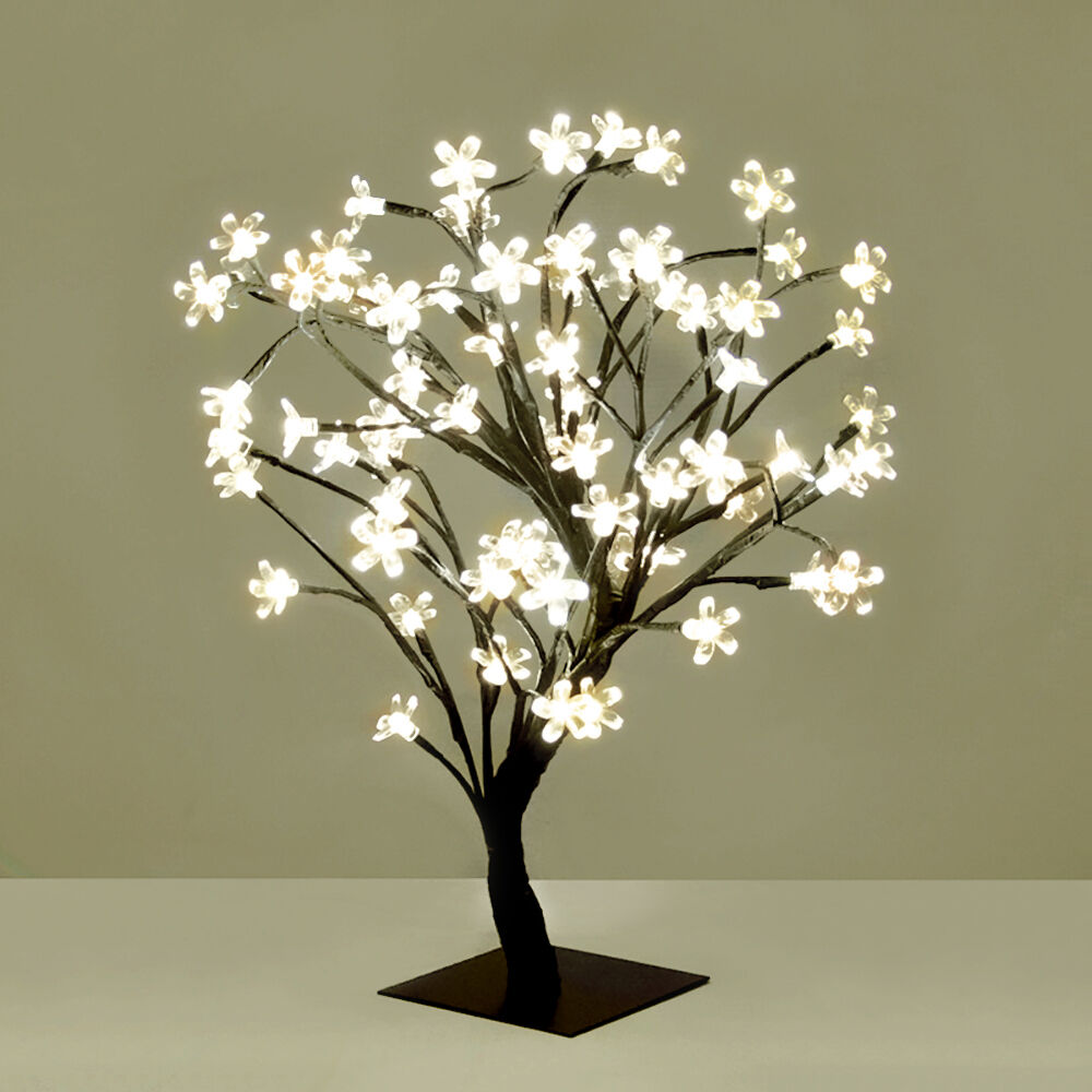 ... White LED Bonsai Tree with 72 LED Fairy Twig Lights Table Lamp eBay
