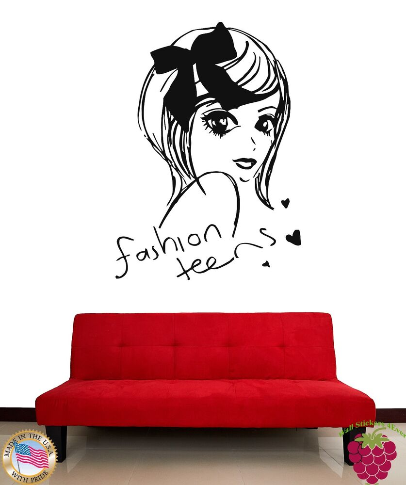 wall stickers beautiful girl teen fashion teens cool decor for you z1894 682017256542 ebay. Black Bedroom Furniture Sets. Home Design Ideas