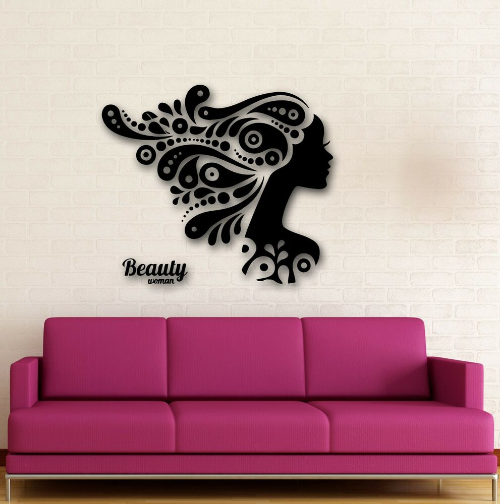 Wall stickers vinyl decal beautiful woman girl beauty for Salon pictures for wall