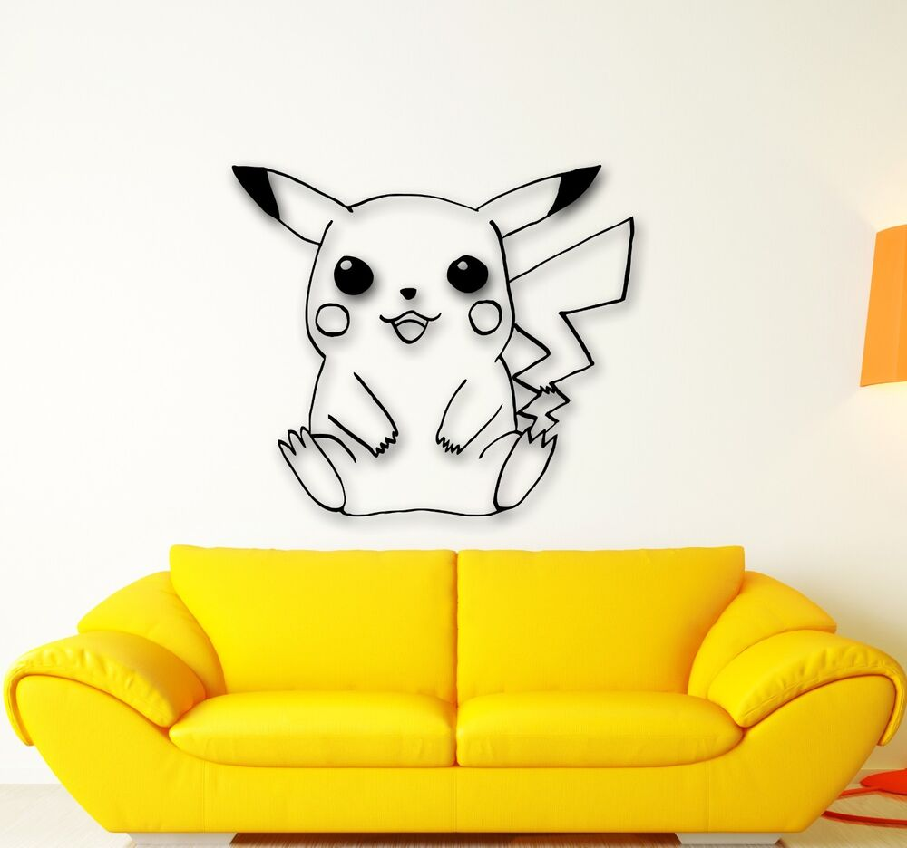 Wall Stickers Vinyl Decal Pokemon Pikachu Anime Kids Baby