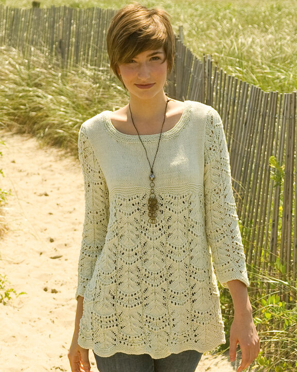 Free Knitting Patterns For Ladies Lace Tops : Lovely Wavy Lace Pattern Tunic 36