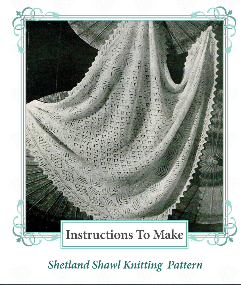 Knitting Pattern For Christening Shawl Free : Vintage Knitting pattern-How to make shetland lace baby christening shawl,2 p...