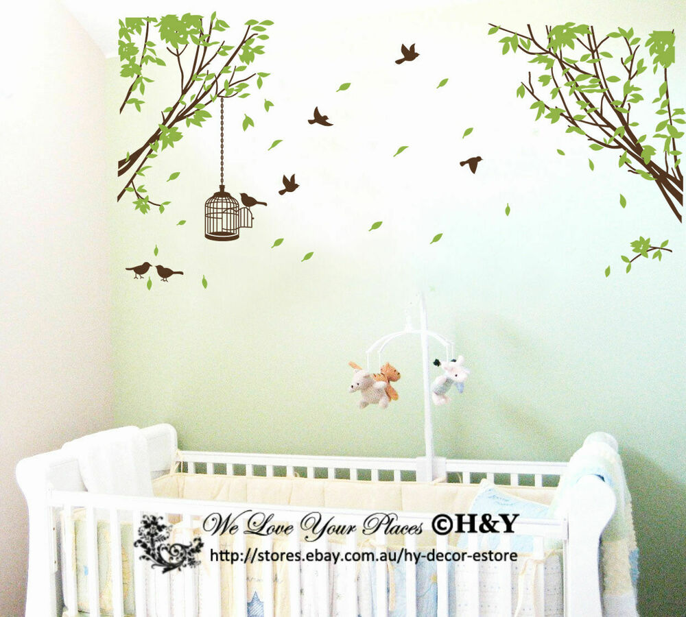 Diy Name Wall Art For Nursery : Branch tree birds cage removable wall stickers art decals