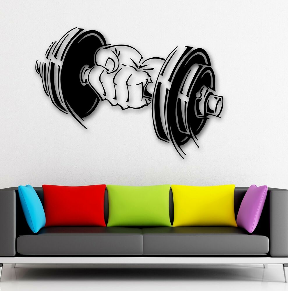 Vinyl Decal Dumbbell Muscled Sport Gym Arm Fitness Wall ...