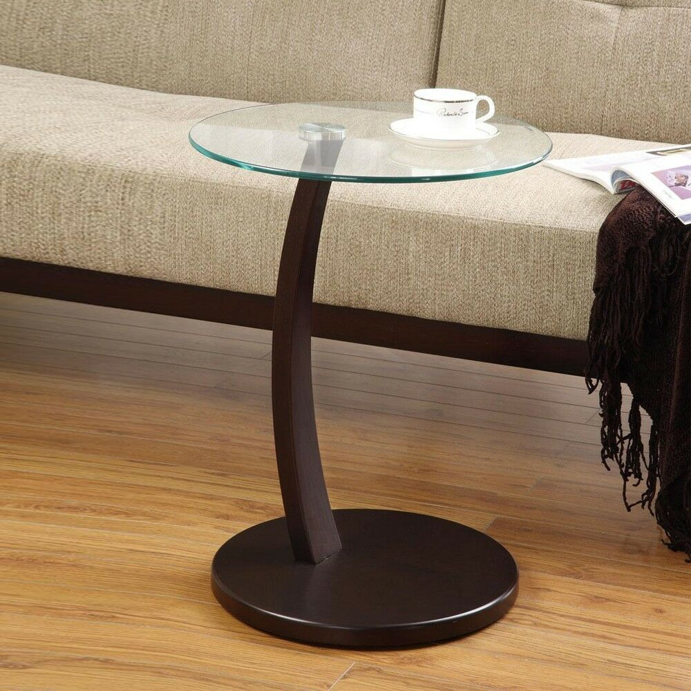 Accent Living Room Round Snack Side Sofa Table Stand Round Glass Top Wood Bas