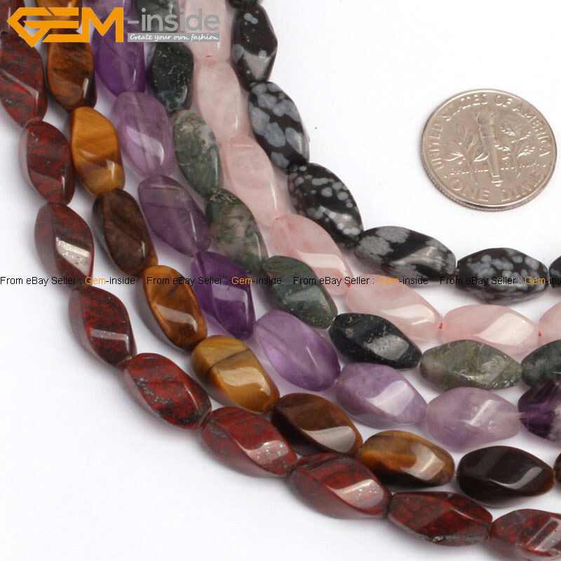 Natural stone beads for jewelry making 15 6x12mm twist for Birthstone beads for jewelry making
