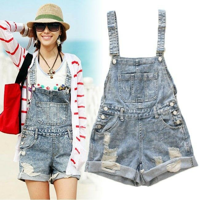 Womens Distressed Washed Jeans Denim Hole Jumpsuit Romper Crimping Overall Short   EBay