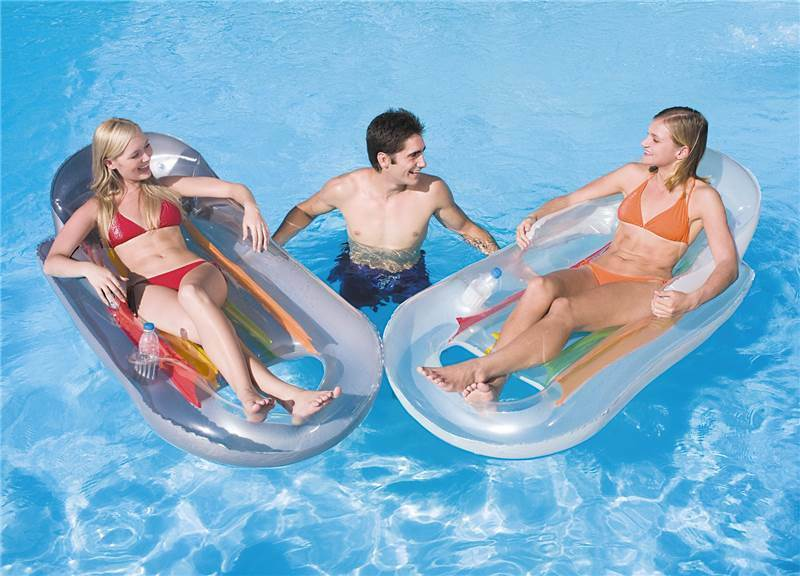 Inflatable Lilo Swimming Pool Lounger Reclining Float