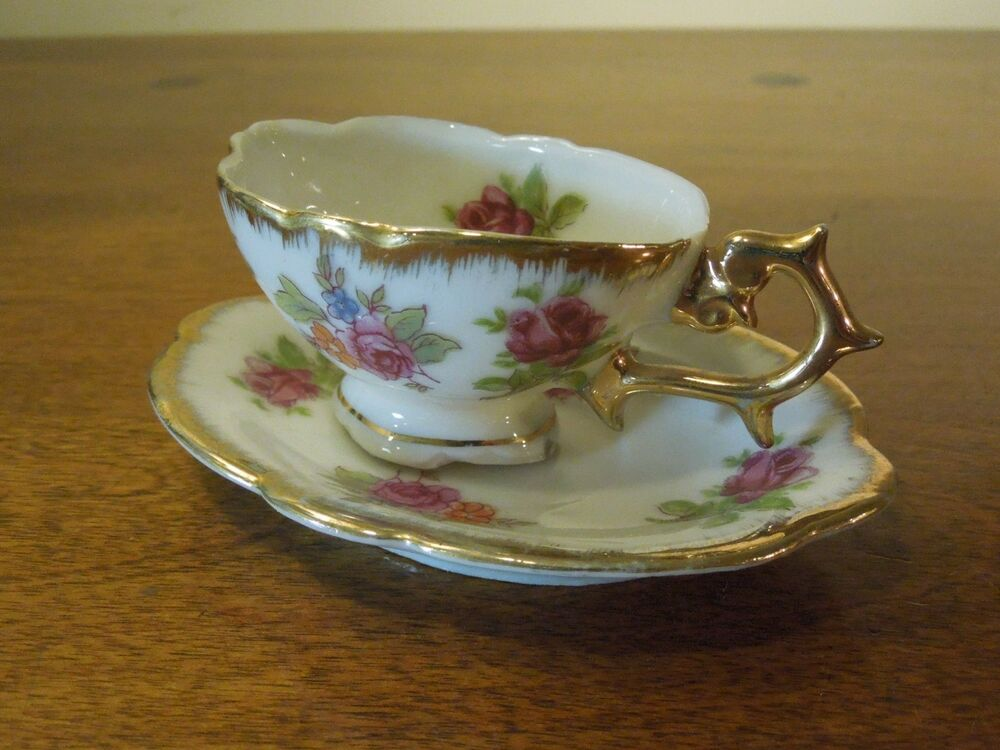 Vintage miniature porcelain creamer and saucer white for Alpine cuisine fine porcelain