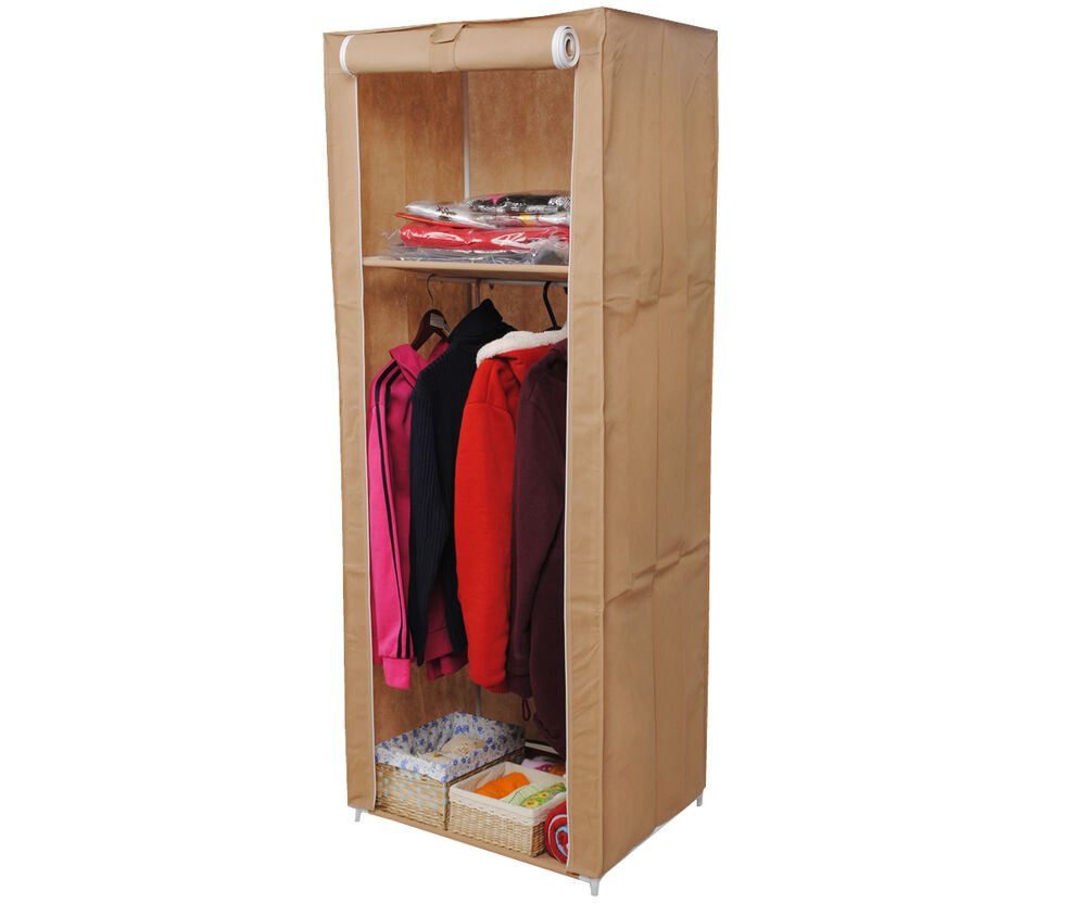 Portable wardrobe organizer clothes space saving organizer cloth rack durable ebay - Clothes storage for small spaces model ...