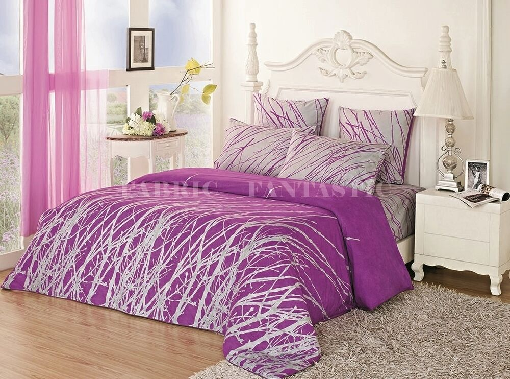 Purple Tree Sheet Set Double Queen King Size Bed Flat
