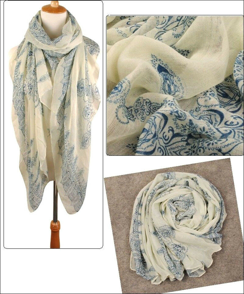 New Women Beige Cool Soft Voile Long Scarf Pashmina Large