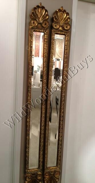Set 2 narrow baroque wall mirrors antique gold 60 h accent for Narrow wall mirror decorative