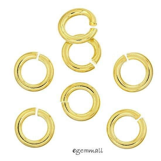 22kt Gold Platinum: 10x 22kt Gold Plated Sterling Silver Open Jump Ring 1.2x