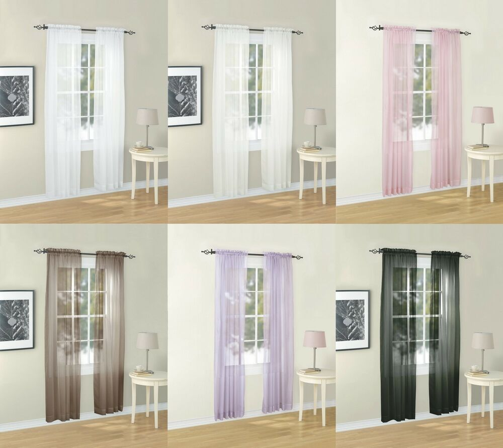 Euphoria Solid Voile Sheer Window Curtain Valance Panel 6
