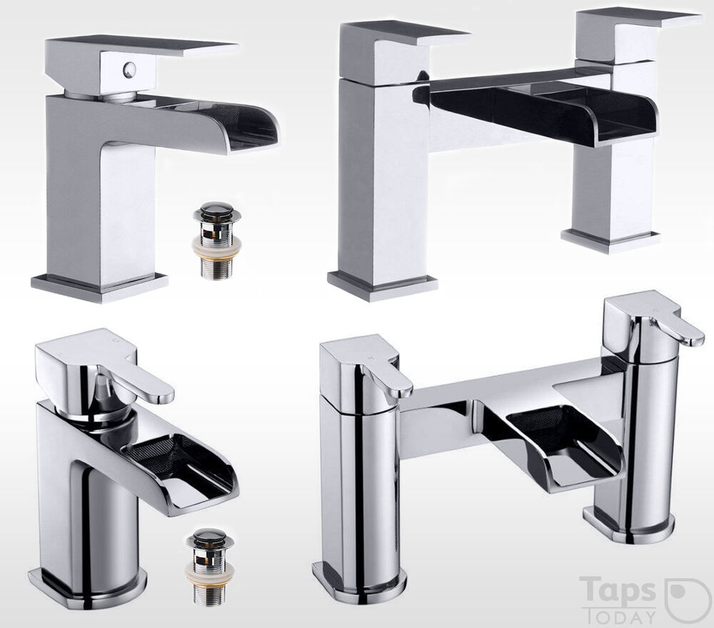STYLISH WATERFALL BATHROOM SET, MODERN CHROME BASIN MIXER ...
