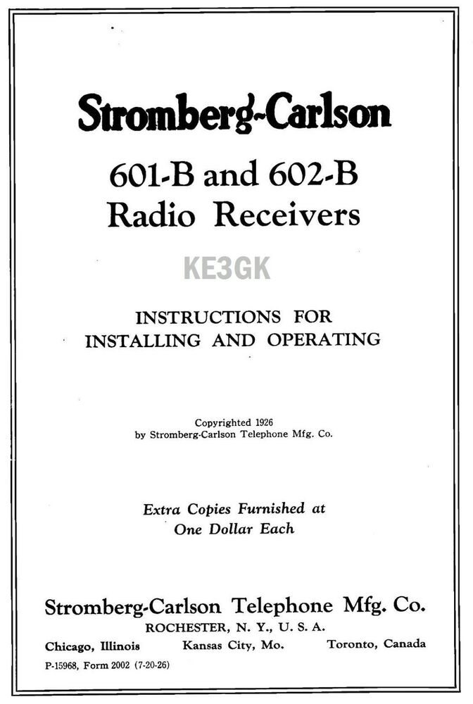 Stromberg Carlson 601 B 602 B Operating Instructions Pdf Cdrom