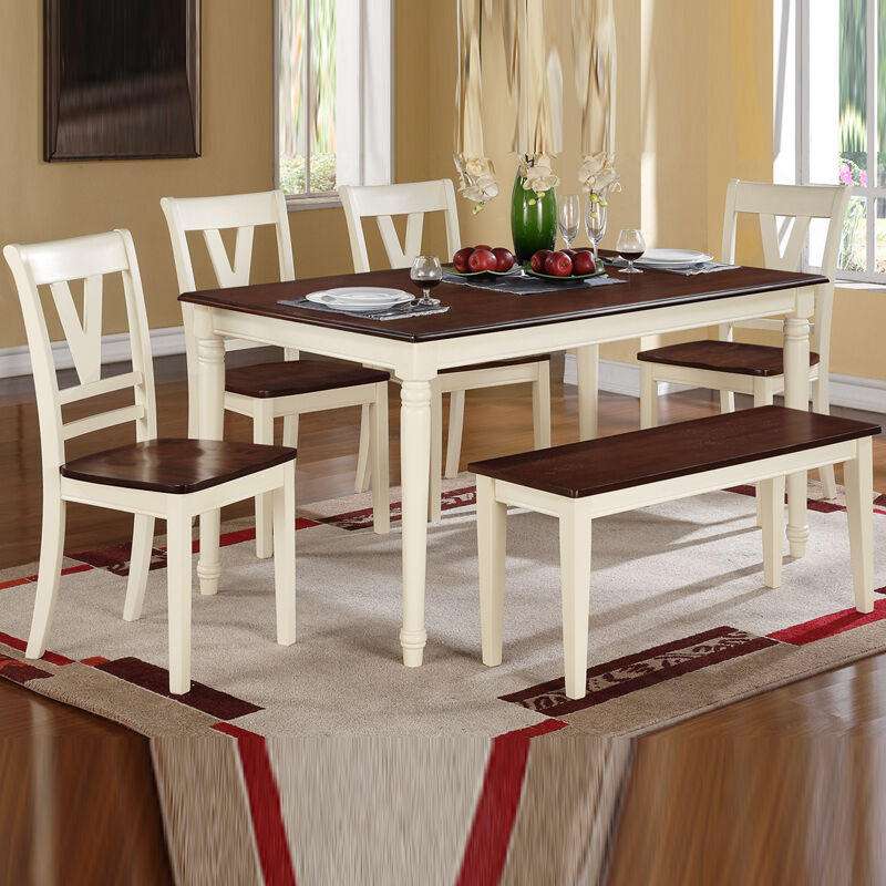 Black Bench For Dining Table: 6 Piece Cottage Black Cream Cherry Two Tone Rectangular