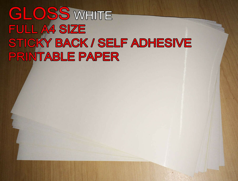 20x a4 white gloss self adhesive sticker paper sheet. Black Bedroom Furniture Sets. Home Design Ideas