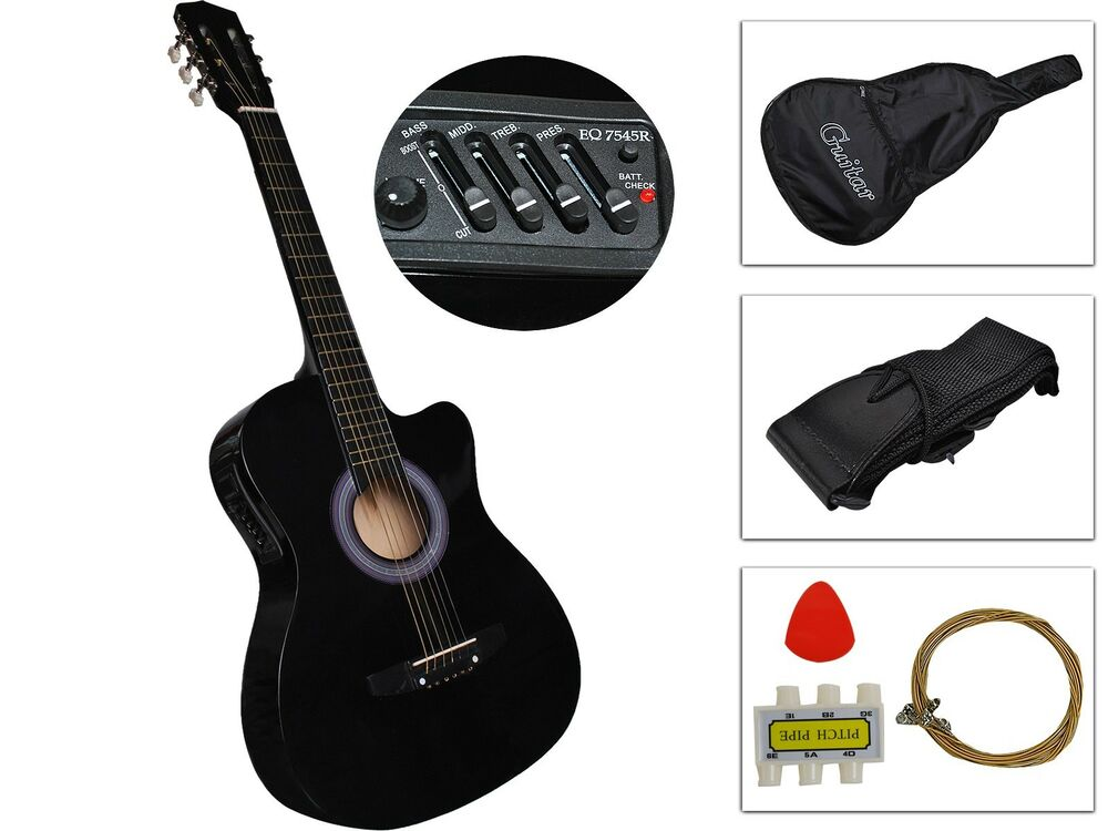 black acoustic electric guitar best 2015 design w guitar case strap tuner new ebay. Black Bedroom Furniture Sets. Home Design Ideas