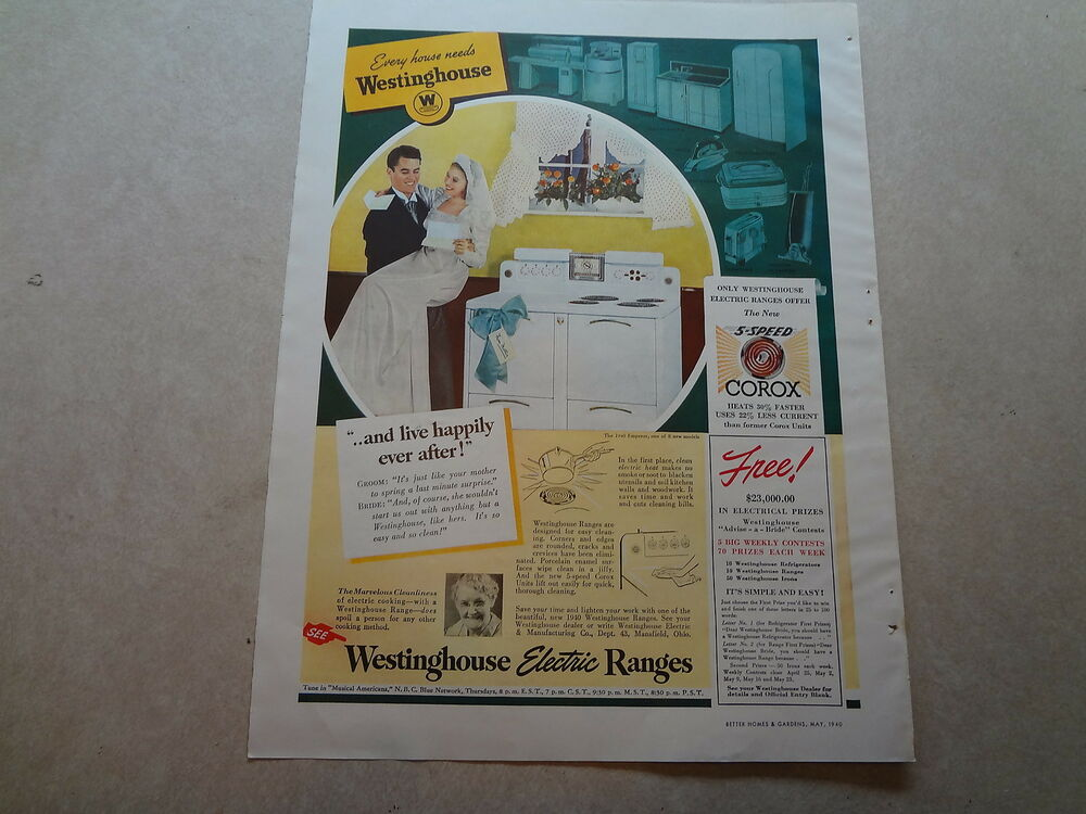 1940 westinghouse electric range vintage magazine ad and live happily ever ebay - Westinghouse and living ...