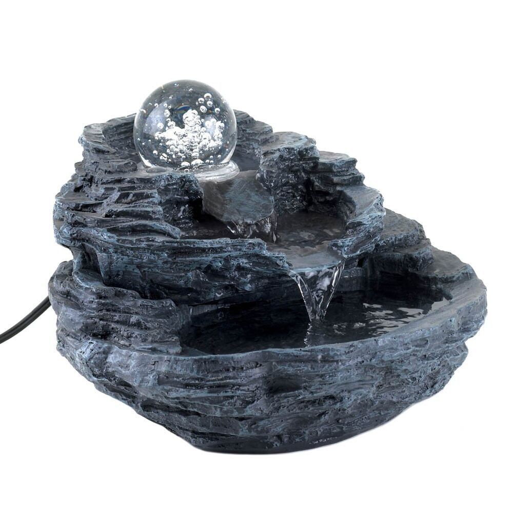 Clear spinning orb rock design table desk water fountain for Waterfall fountain