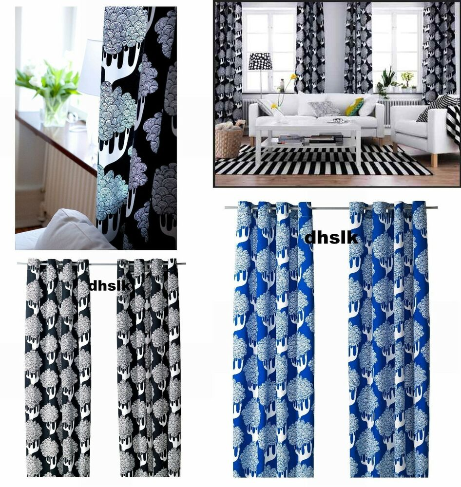 IKEA KAJSAMIA CURTAINS Drapes BLUE 0r Black WHITE Tribal Tree GROMMET ...