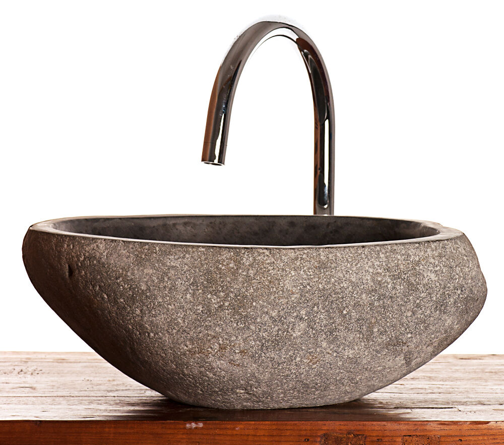 River Rock Granite Sink Approx 400 Mm X 400 Mm X 150 Mm Bathroom Washbasin Ebay